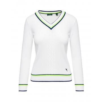 Пуловер (жен) Chervo'20  NISBA (А64) белый с жёлтым, 64489