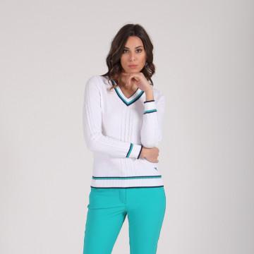 Пуловер (жен) Chervo'20  NISBA (А93) белый с зелёным, 64489