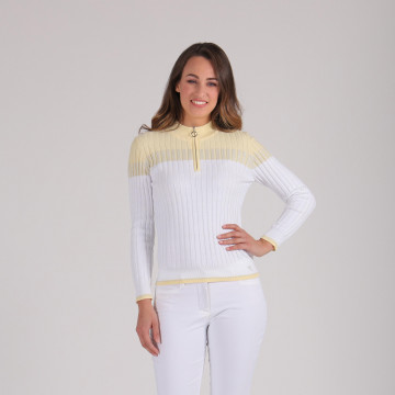 Кофта (жен) Chervo'20  NUMANA (100) белый-желтый, 64491