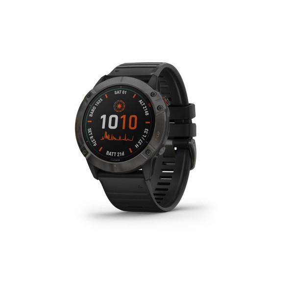Часы fenix 6X Pro Solar,Ti, Carbon Gray DLC w/Black Band,GPS,EMEA (010-02157-21)