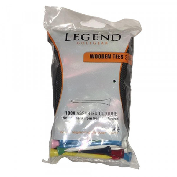 Ти Legend'21  2-3/4 (100шт) деревянные (цветные) LE6210007