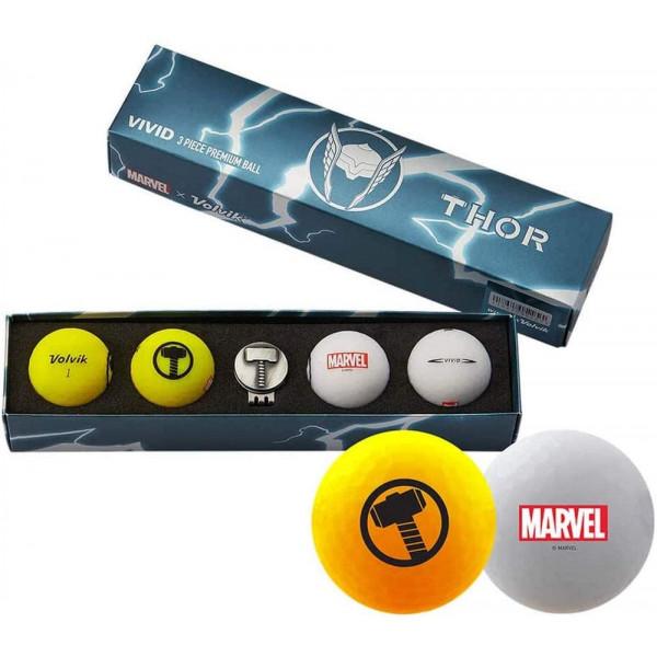 Подарочный набор мячей Volvik'21 THOR YELLOW/WHITE  (4шт/уп + маркер) VV0001840