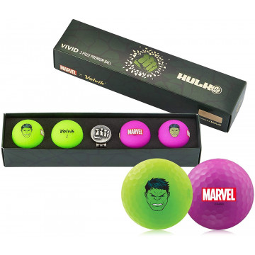 Подарочный набор мячей Volvik'21 HULK GREEN/PURPLE  (4шт/уп + маркер) VV0001830