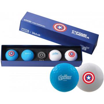 Подарочный набор мячей Volvik'21 CAPTAIN AMERICA BLUE/WHITE (4шт/уп + маркер) VV0001810