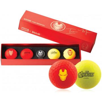 Подарочный набор мячей Volvik'21 IRON MAN RED/YELLOW (4шт/уп + маркер)  VV0001800