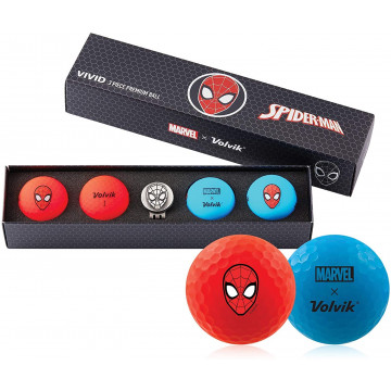 Подарочный набор мячей Volvik'21 SPIDER MAN RED/BLUE  (4шт/уп + маркер) VV0001820