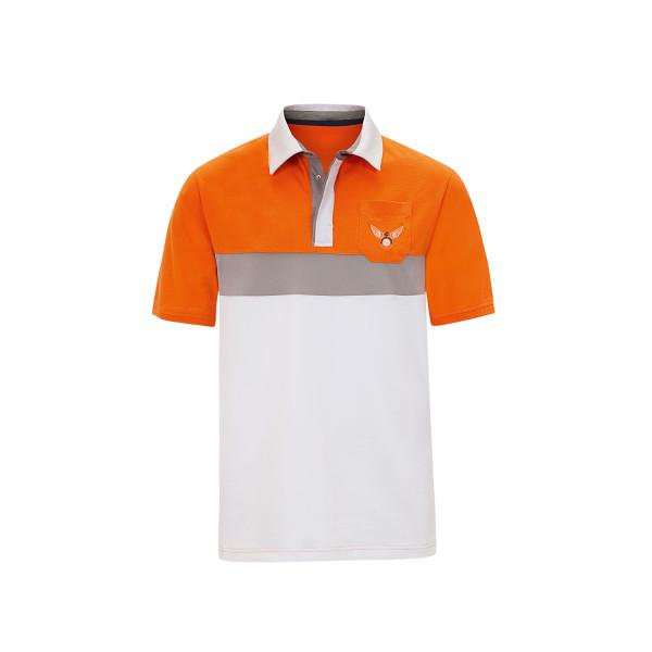 Поло (муж) DDC Gary (белый-оранжевый) 90255
