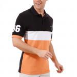 Поло (муж) Golfino Cotton 2231212 (890) черный-белый-оранжевый